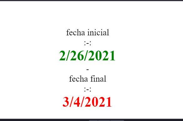 fechas de inicio y fin