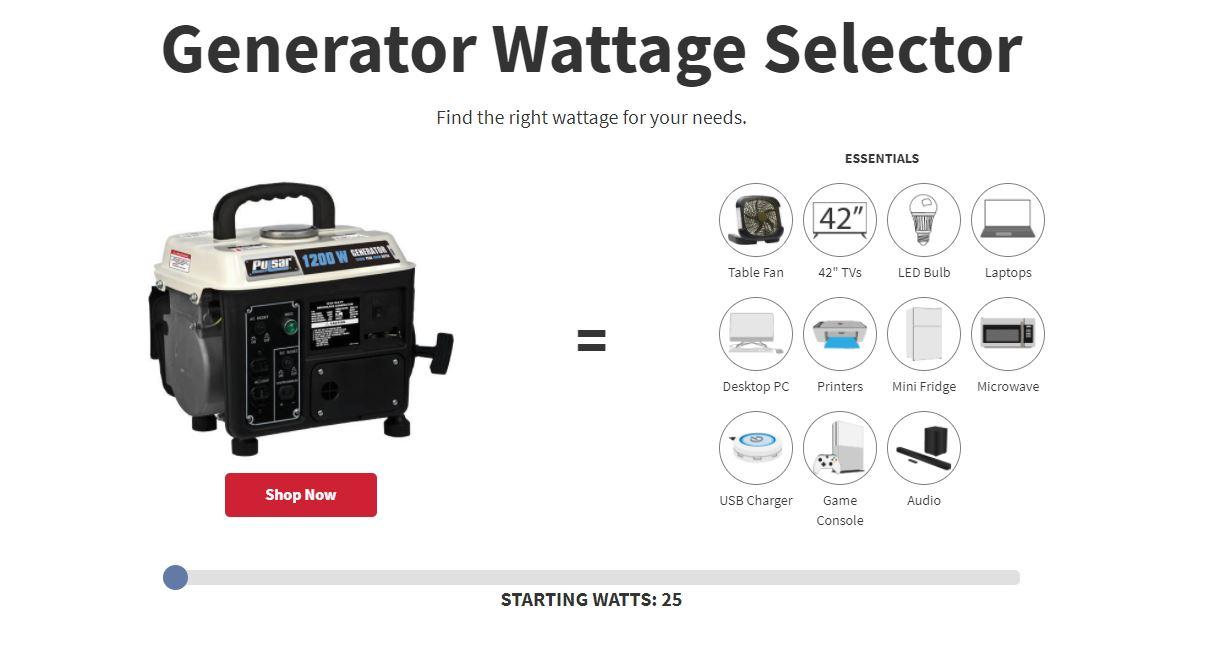 selector de generador de corriente